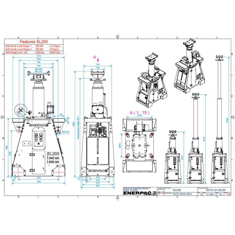 Esquema Portico-ENERPAC-250TN-movmiento-maquinaria