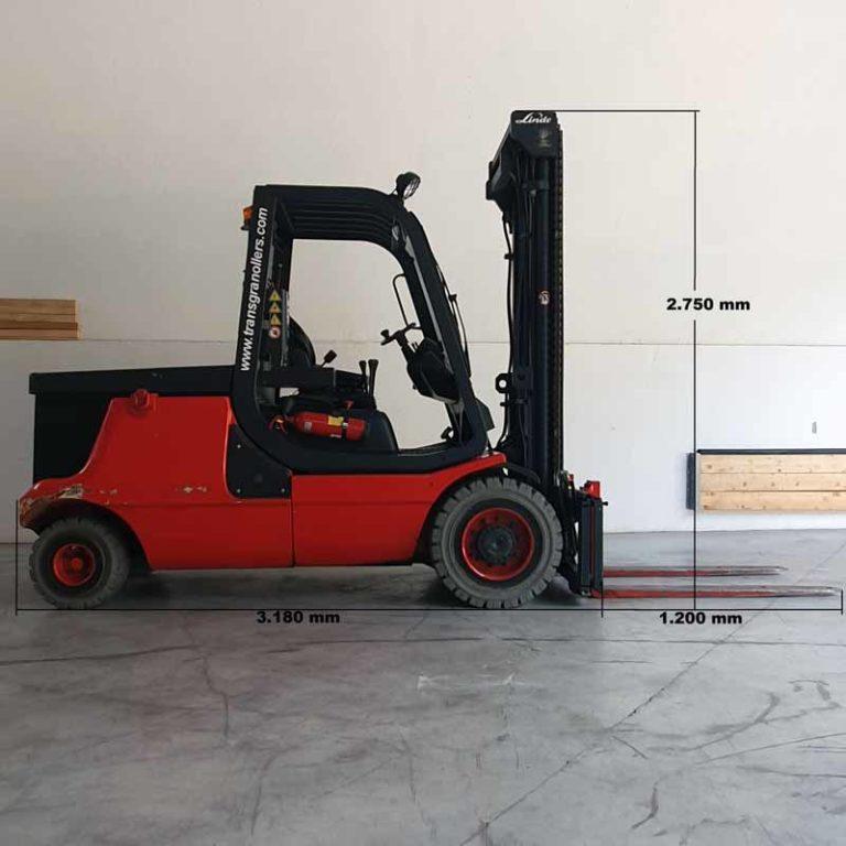 Carretilla Elevadora E48 transporte de maquinaria lado