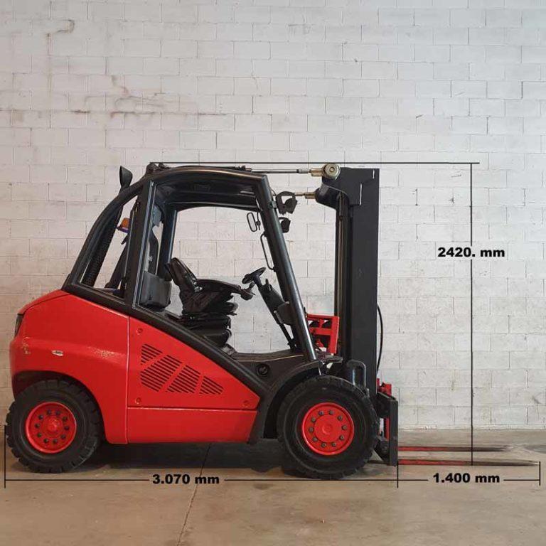 Carretilla Elevadora H50 D transporte especial lado