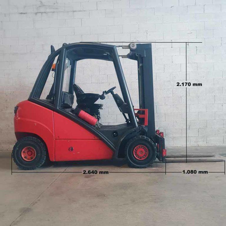Carretilla Elevadora H25 D transporte especial lado
